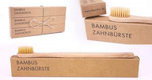 Bambus Zahnbürste liegend, als Gebinde, Borsten