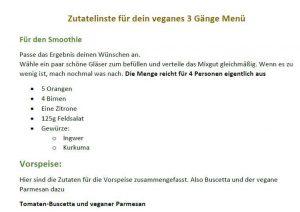 veganes 3 Gänge Menü - baumfrei.de - Vorschau Zutatenliste
