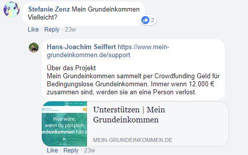 Spendenmöglichkeiten - baumfrei.de - Pia Brouwers - AB Mein Grundeinkommen